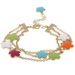 Goldtone Multi-color Enamel 3-strand Bracelet