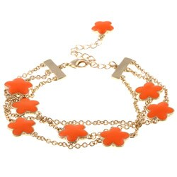 Goldtone Orange Enamel 3-strand Bracelet