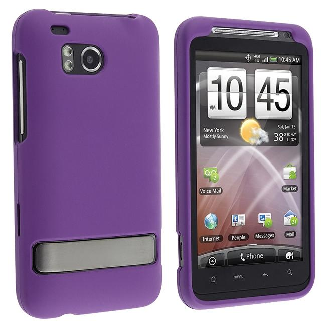 INSTEN Snap-on Rubber-coated Purple Phone Case Cover for HTC ThunderBolt 4G