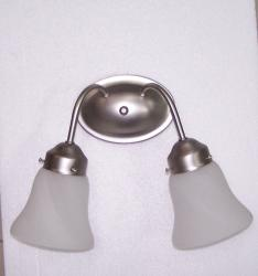 Transitional 2-light Brushed Nickel Bath Wall Sconce - Thumbnail 1