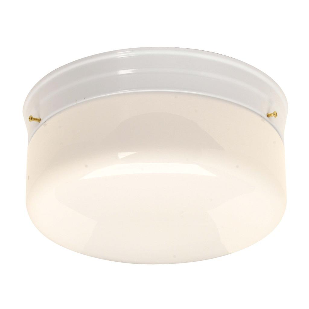 Transitional White Glass/Steel Two-Light Flush Sconce