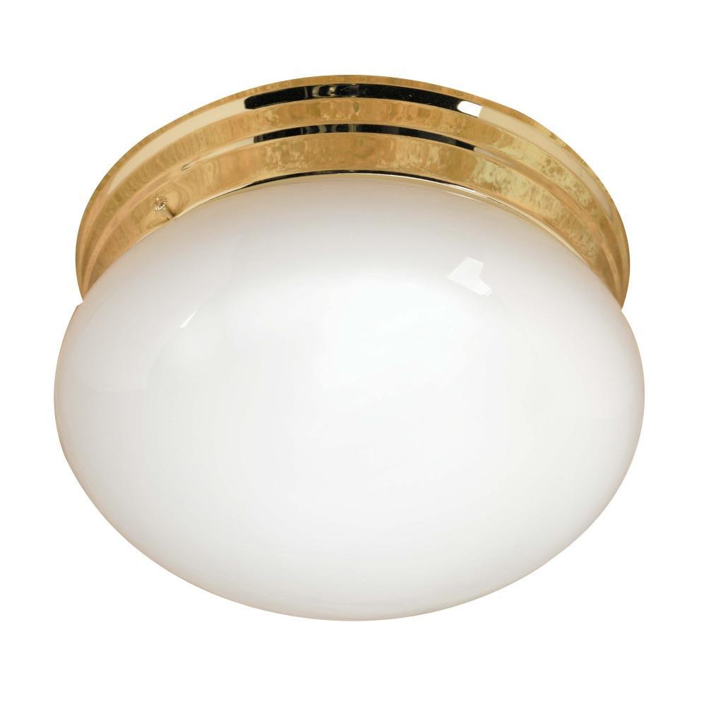 Transitional Polished Brass 2-light Flush Sconce