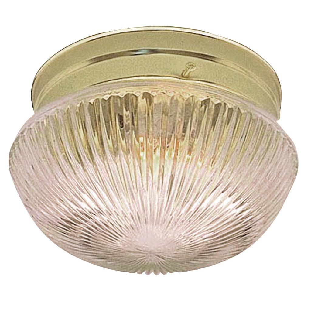 Transitional Two-Light Polished Brass Flush Indoor Fixture