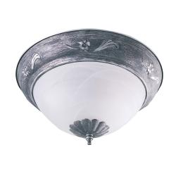 Transitional Two-Light Antique-Pewter Flush-Mount Indoor Fixture