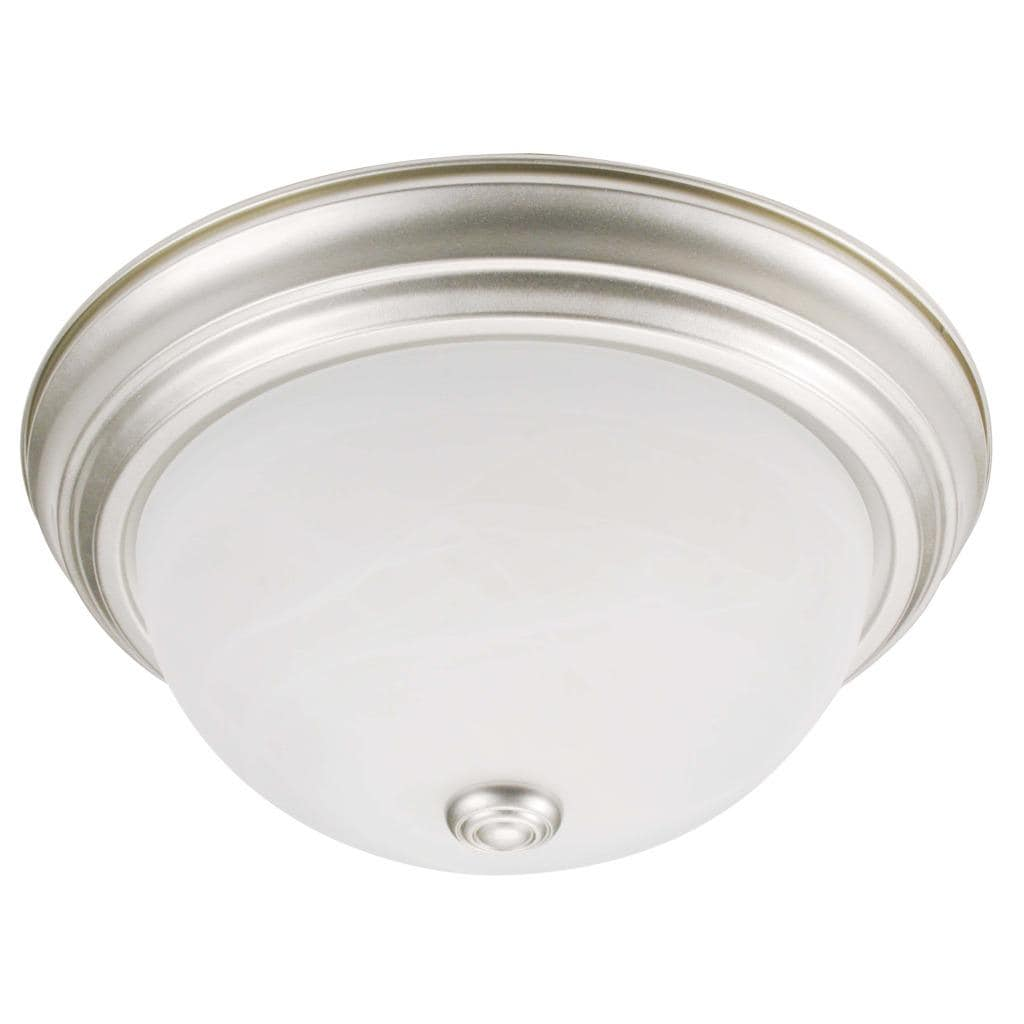 Transitional 1-light Silver Mist Flush-mount Fixture