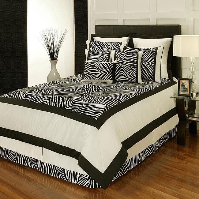 Sherry Kline Zuma Print Black and White 8-piece Comforter Set