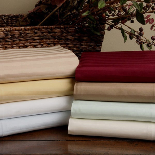 Superior 300 Thread Count Split King Deep Pocket Stripe Cotton Sheet Set