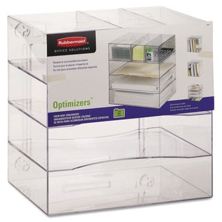 Rubbermaid® Optimizers Four-Way Organizer with Drawers, Plastic, 13 1/4 x 13 1/4 x 10, Clear
