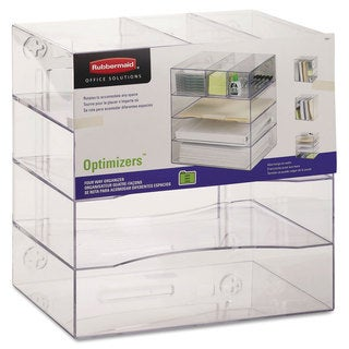 Rubbermaid? Optimizers Four-Way Organizer with Drawers, Plastic, 13 1/4 x 13 1/4 x 10, Clear