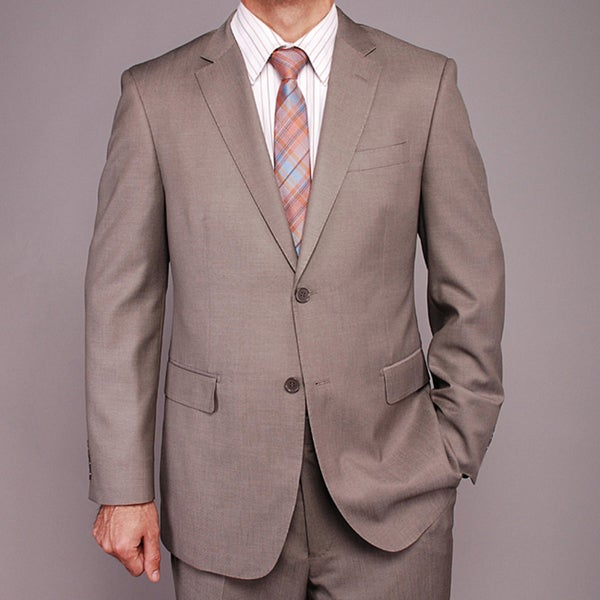 Men's Taupe Sharkskin Pattern Wool/Silk Blend 2-button Suit - Free ...