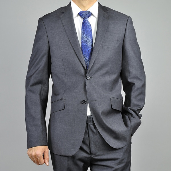 Mens Charcoal Gray 2-button Slim-fit Suit