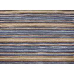 Hand-Knotted Mediterranean Blue Stripe Wool Area Rug (8' x 10')