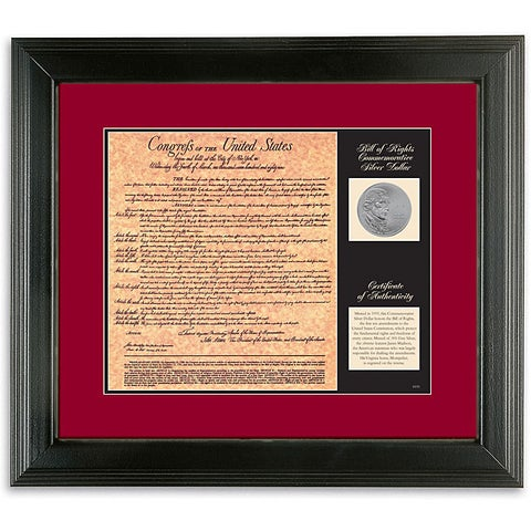 American Coin Treasures Commemorative Silver Coin and Bill of Rights Facsimile