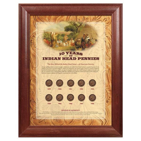 American Coin Treasures Framed Indian Head Pennies