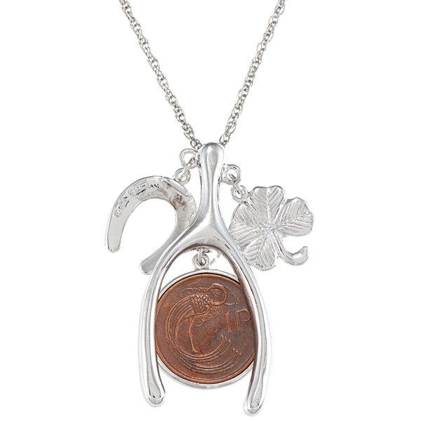 American Coin Treasures Lucky Irish Penny Wish Bone Necklace