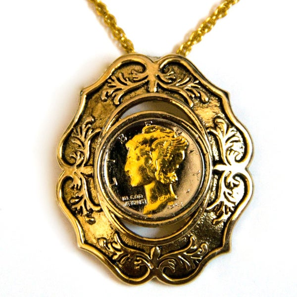 American Coin Treasures Mercury Dime Oval Necklace