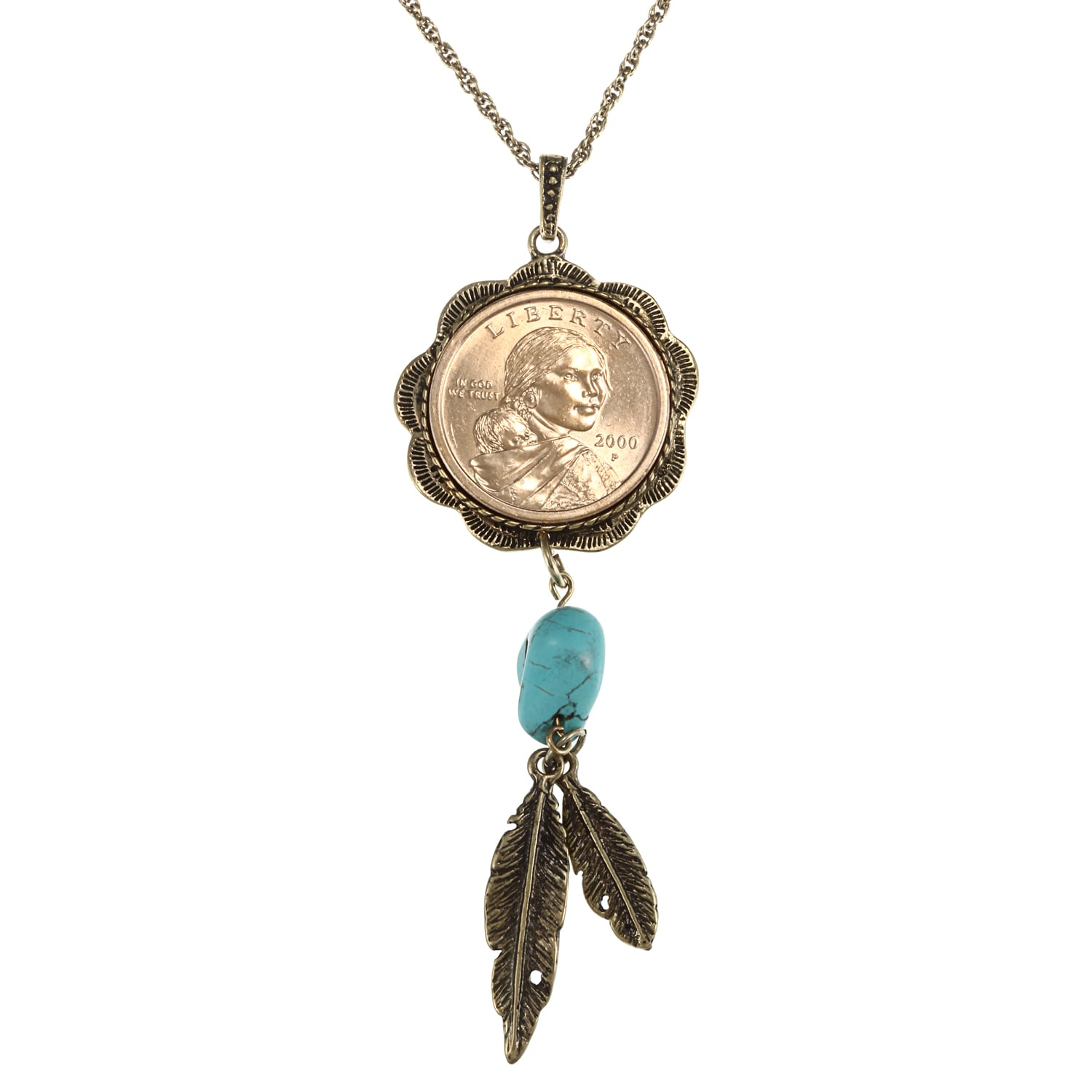 American Coin Treasures Sacagawea Brass and Turquoise Nec...