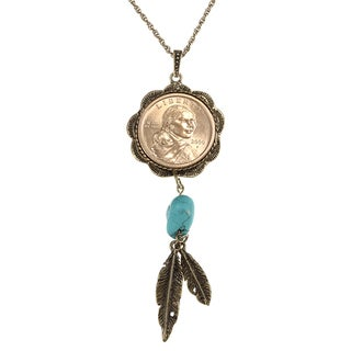 American Coin Treasures Sacagawea Brass and Turquoise Necklace
