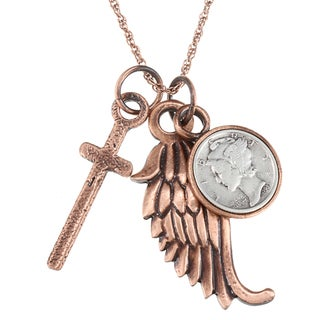 American Coin Treasures Mercury Dime Cross and Wing Coppertone Necklace