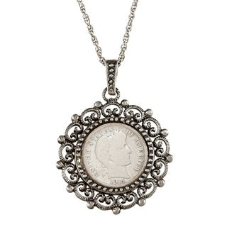 American Coin Treasures Silver Barber Dime Beaded Necklace