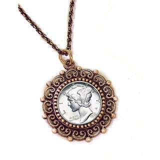 American Coin Treasures Silver Mercury Dime Coppertone Necklace