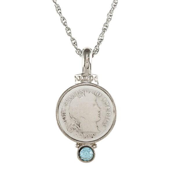 American Coin Treasures Silver Barber Dime Aqua Crystal Pendant Necklace