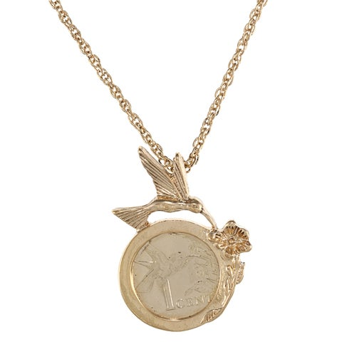 American Coin Treasures Hummingbird Goldtone Necklace
