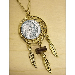 American Coin Treasures Buffalo Nickel Tiger Eye Dream Catcher Pendant