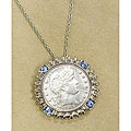 American Coin Treasures Silver Barber Quarter Blue Crystal Silvertone Pendant Necklace