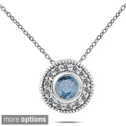 Marquee Jewels 10k White Gold 2/5 to 1/2ct TDW Colored Diamond Halo Necklace (I-J, I1-I2)