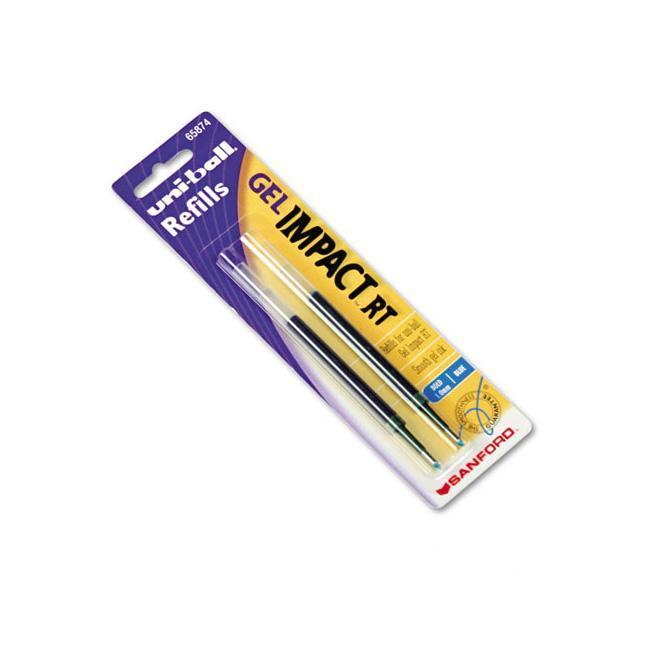 Sanford Uni-Ball Blue Gel Impact RT Roller Ball Pen Refills (Pack of 2)