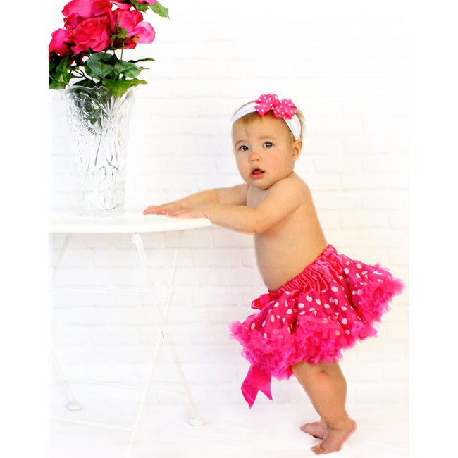 Hot Pink and White Polka Dot Tutu/ Headband/ Bow 3-piece Set