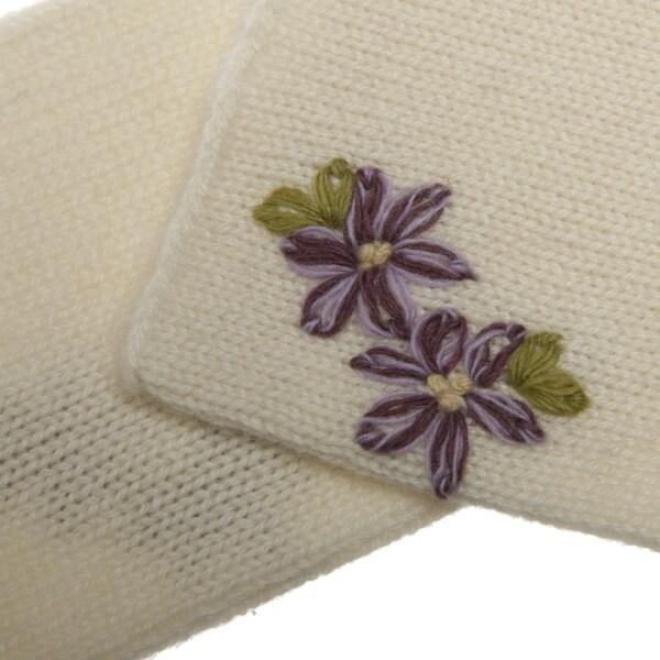 0e5650ba Shop Portolano Women's Cashmere Flower Detail Gloves - Free Shipping ...