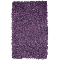 Pelle Hand-tied Purple Leather Shag Rug (4' x 6') - 4' x 6'