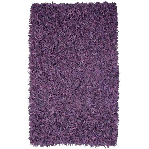 Purple Pelle Leather Shag Rug