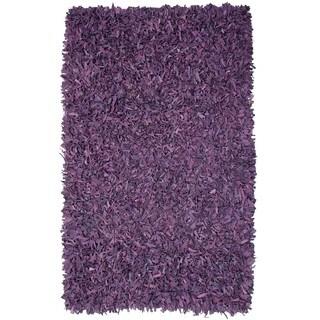 Pelle Hand-tied Purple Leather Shag Rug (2'6 x 4'2)