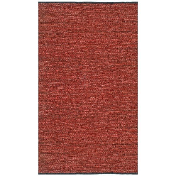 Hand-woven Copper Matador Leather Rug (5' x 8') - 5' x 8'
