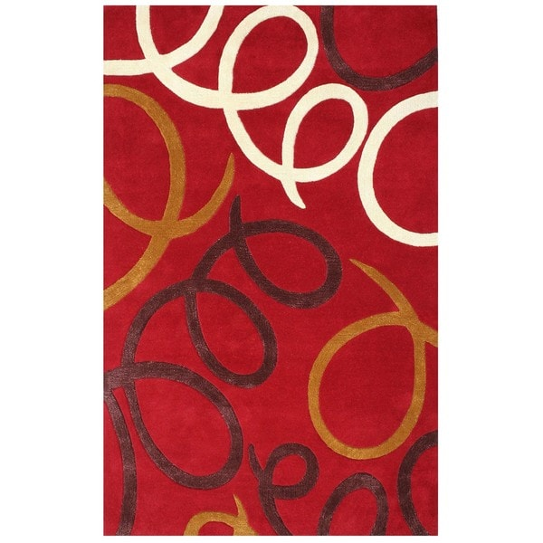 Hand-tufted Laurel Red Wool Rug (5' x 8') - 5' x 8'