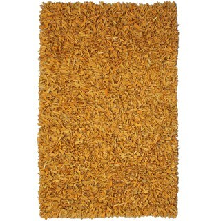 """Hand-tied Pelle Gold Leather Shag Rug (2'6 x 4'2) - 2'6"""" x 4'2"""""""