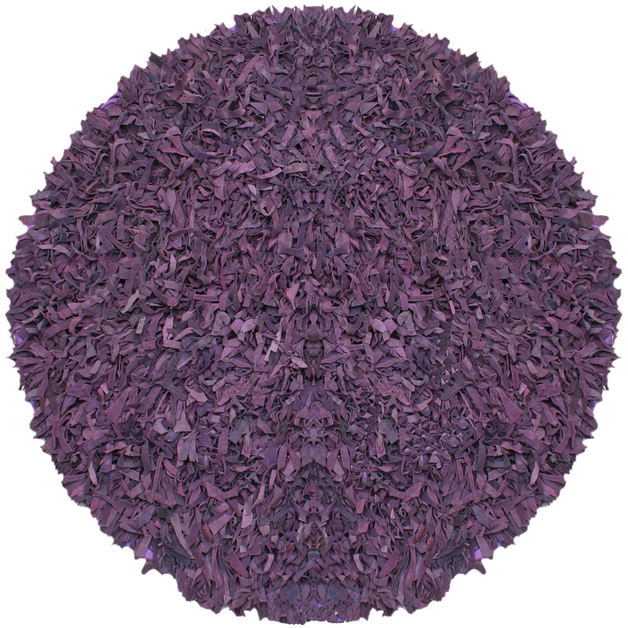 St. Croix Pelle Hand-tied Purple Leather Shag Rug (4' Rou...