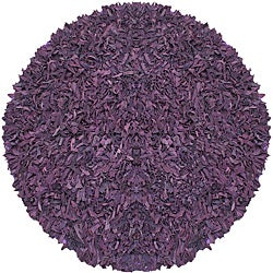 Pelle Hand-tied Purple Leather Shag Rug (4' Round)