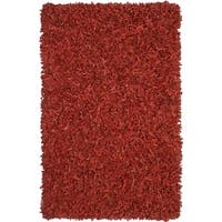 Hand-tied Pelle Red Leather Shag Rug (2'6 x 4'2)