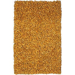 Hand-tied Pelle Gold Leather Shag Rug (4' x 6')