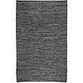 Hand-woven Matador Black Leather Rug (9' x 12')