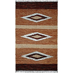 Hand-woven Matador Diamonds Brown Leather Rug (9' x 12')