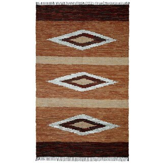 Hand-woven Matador Diamonds Brown Leather Rug (9' x 12') - 9' x 12'