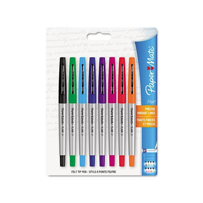Papermate Flair Porous Point Stick Assorted Color Free-flowing Liquid Pens (Pack of 8)