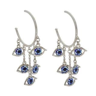 NEXTE Jewelry Dangling Evil Eyes Rhinestone High-polish Guardian Hoop Earrings