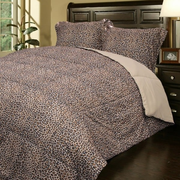 Super soft leopard print microfiber 3 piece down for Super cheap bedroom sets