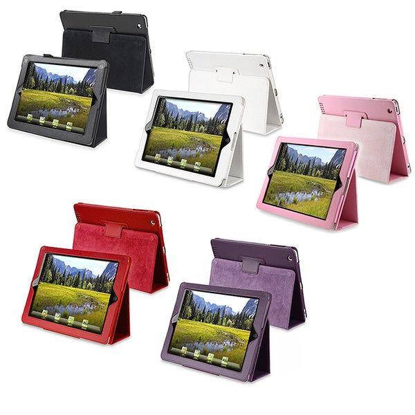 INSTEN Black Leather Tablet Case Cover with Stand for Apple iPad 2